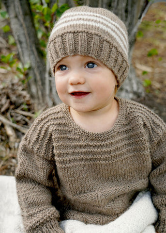 Kennedy Sweater and Hat by Lisa F Design Knitted with Wild Earth Yarns natural yarns