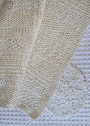 Knit & Purl Blanket by Lisa F Design Knitted with Wild Earth Yarns natural yarns