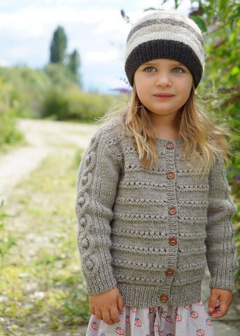 McKenna Cardi and Hat by Lisa F Design Knitted with Wild Earth Yarns natural yarns
