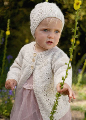 Trinity Cardi and Hat by Lisa F Design Knitted with Wild Earth Yarns natural yarns