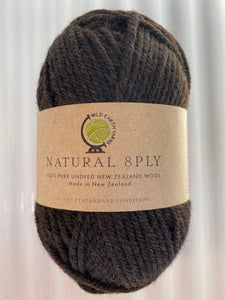 Natural 8-Ply Undyed NZ Wool - Chocolate