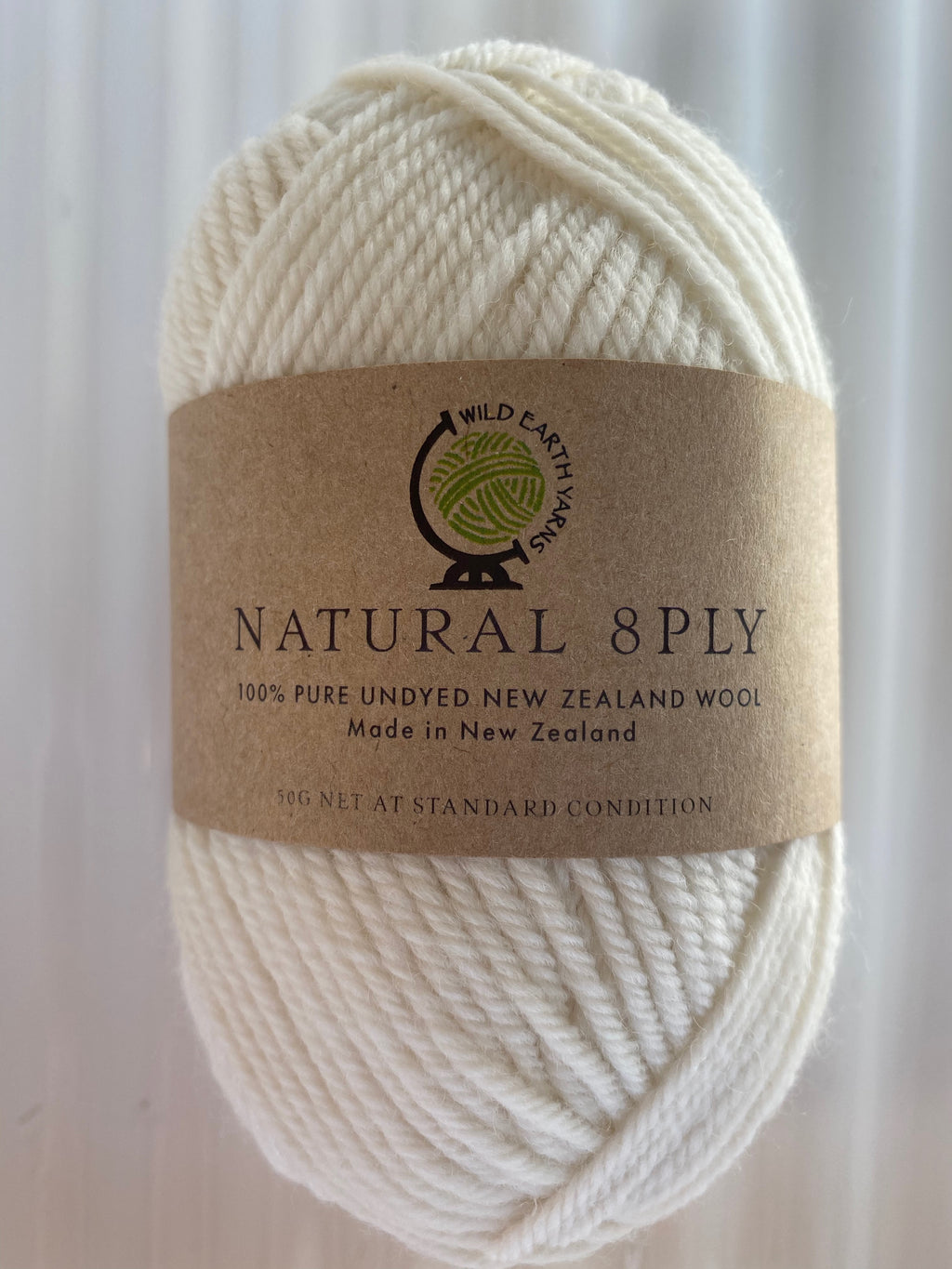 Natural 8-Ply Undyed NZ Wool - Cream