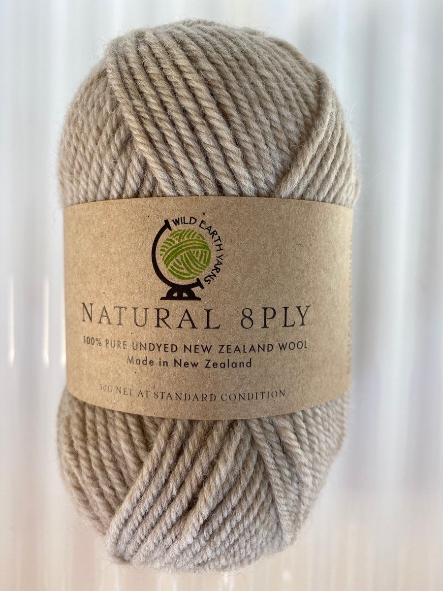 Natural 8-Ply Undyed NZ Wool - Latte