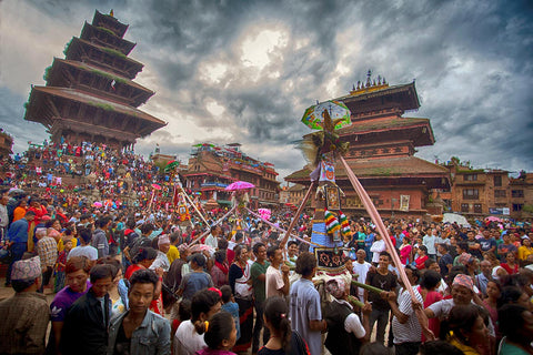Newari People Celebrating one of must famous festival GaiJatra in Bhaktapur, Nepal