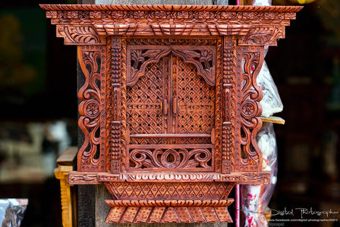 Handcrafted wooden souvenirs sale on Bhaktapur, Nepal