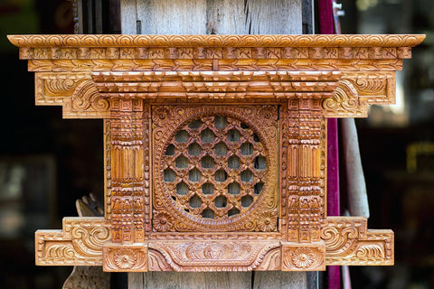 Handcrafted Wooden item's sale on Bhaktapur, Nepal