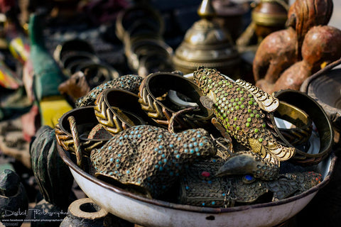 Handcrafted metal  souvenirs sale on Patan Durbar Square Lalitpur, Nepal