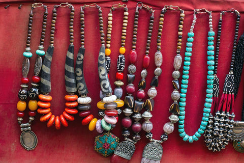 Handcrafted souvenirs on sale on Thamel, Nepal