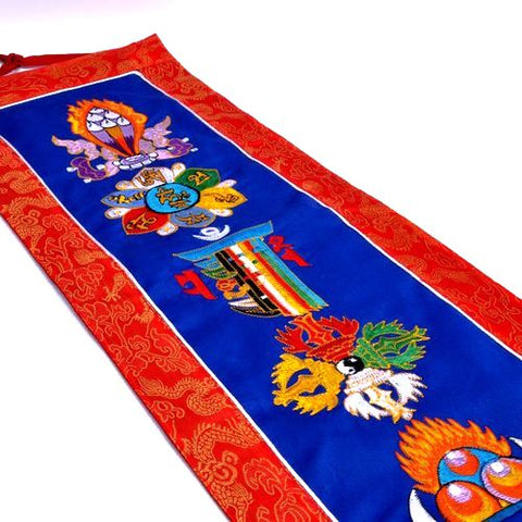 Large Ashtamangalas Embroidered Wall Hanging - ThirdWorldTrAid