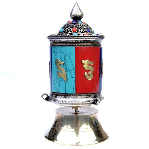 Small Red & Blue Ceramic Prayer Wheel - ThirdWorldTrAid