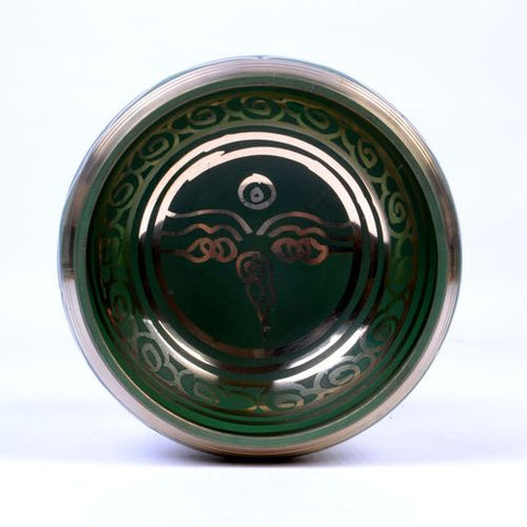 Small Green Coated Tibetan Buddhist Singing Bowl - ThirdWorldTrAid