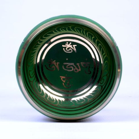 Medium Green Coated Tibetan Buddhist Singing Bowl - ThirdWorldTrAid