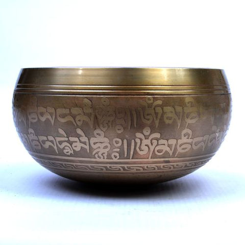 Singing Bowl Carved with Visvavajra Symbol - Medium - ThirdWorldTrAid