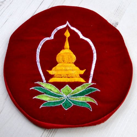 Yellow Stupa White & Green Symbol Large Round Red Tibetan Singing Bowl Cushion - ThirdWorldTrAid