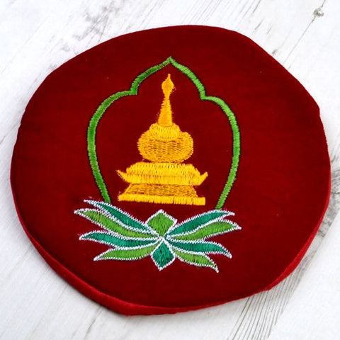 Yellow Stupa Green & Green Leaves Large Round Red Tibetan Singing Bowl Cushion - ThirdWorldTrAid
