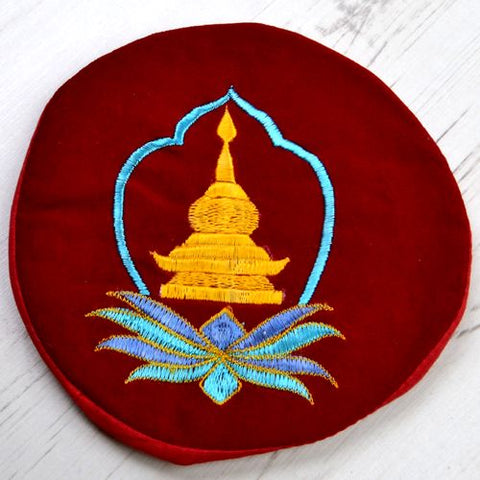 Yellow Stupa Blue & Blue Leaves Large Round Red Tibetan Singing Bowl Cushion - ThirdWorldTrAid