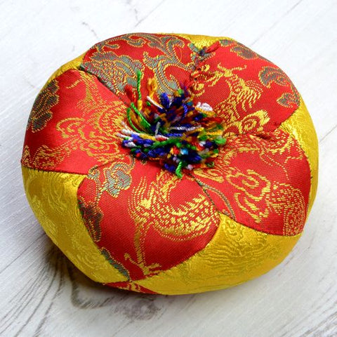 Red & Gold Round Singing Bowl Cushion - ThirdWorldTrAid
