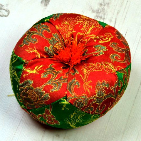 Red & Green Round Singing Bowl Cushion - ThirdWorldTrAid