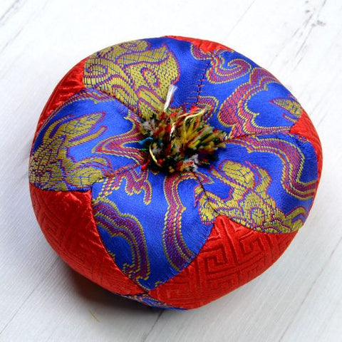 Blue & Red Round Singing Bowl Cushion - ThirdWorldTrAid