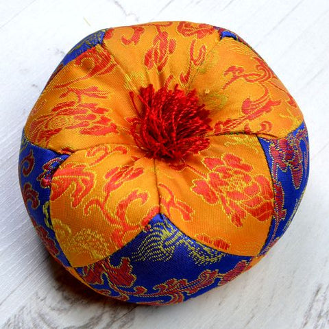 Orange & Blue Round Singing Bowl Cushion - ThirdWorldTrAid