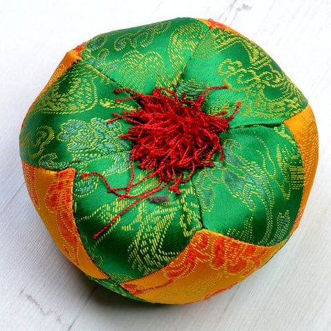 Green  &  Yellow Round Singing Bowl Cushion - ThirdWorldTrAid