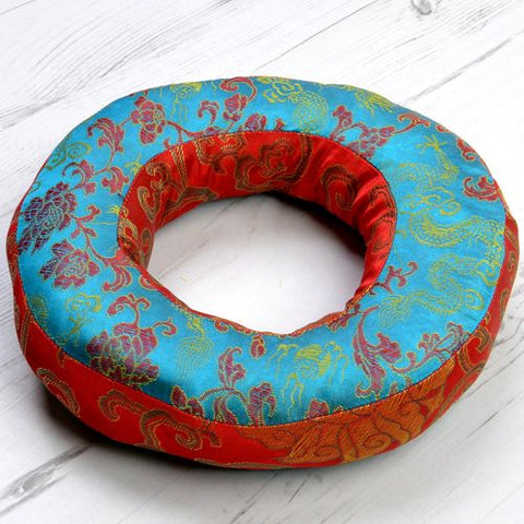 Large Doughnut Padded Singing Bowl Cushions Turquoise Top & Red Sides - ThirdWorldTrAid