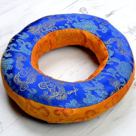 Large Doughnut Padded Singing Bowl Cushions Blue Top & Gold Sides - ThirdWorldTrAid