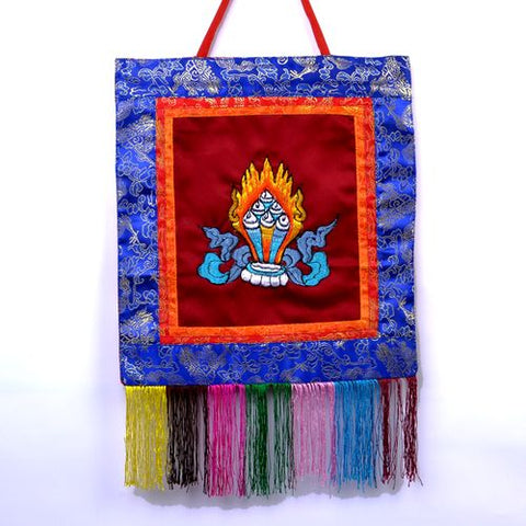Small Red Tibetan Ratna Banner Wall Hanging - ThirdWorldTrAid