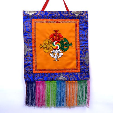 Small Orange Tibetan Visvavajra Banner Wall Hanging - ThirdWorldTrAid