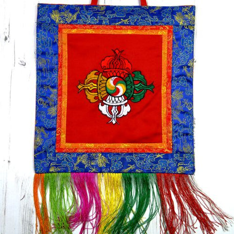 Small Red Tibetan Visvavajra Banner Wall Hanging - ThirdWorldTrAid