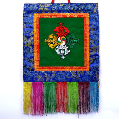 Small Green Tibetan Visvavajra Banner Wall Hanging - ThirdWorldTrAid