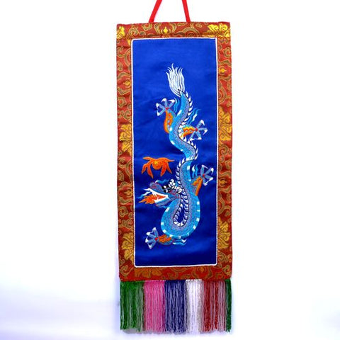 Small Buddhist Tibetan Embroidered Blue Dragon Blue Banner - ThirdWorldTrAid