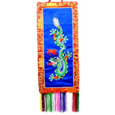 Small Buddhist Tibetan Embroidered Green Dragon Blue Banner - ThirdWorldTrAid