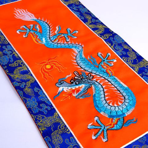 Small Buddhist Tibetan Embroidered Light Blue  Dragon Orange Banner - ThirdWorldTrAid