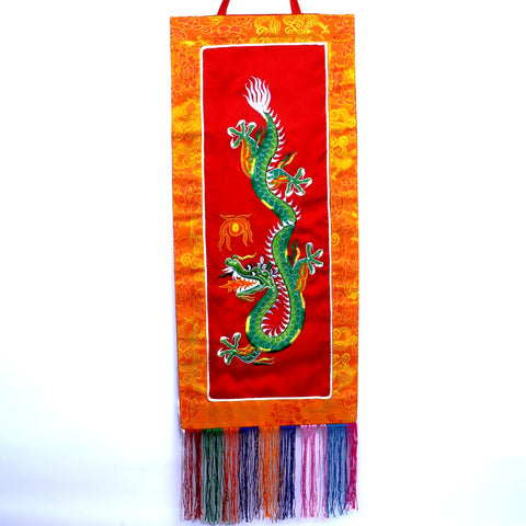 Small Buddhist Tibetan Embroidered Green Dragon Red Banner - ThirdWorldTrAid
