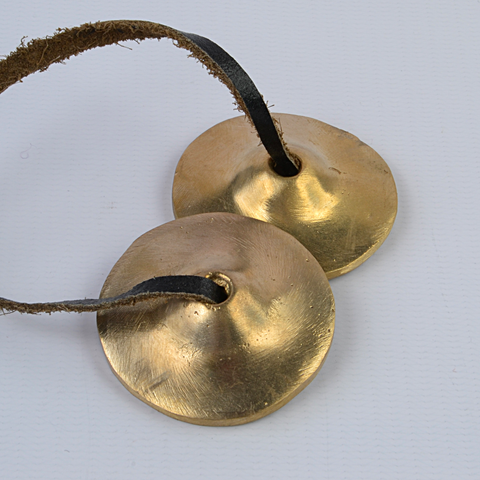 Small Bronze Flat Plain Tingsha Bells - ThirdWorldTrAid