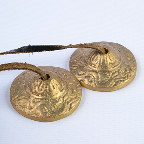 Small Bronze Flat Dragons Tingsha Bells - ThirdWorldTrAid