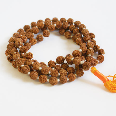 Small Rudraksha Seed Knotted Mala Beads - ThirdWorldTrAid