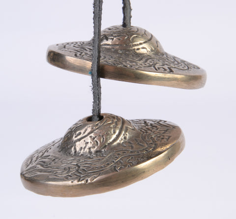 Small Silver Colour  Flat Dragon Tingsha Bells - ThirdWorldTrAid