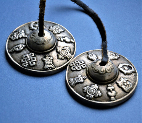 Raised Ashtamangalas Tibetan Tingsha Bells - ThirdWorldTrAid