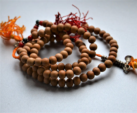 Sandalwood 108 Mala Beads with Tassels - ThirdWorldTrAid
