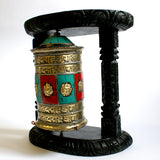 Medium 4 Line Om Mantra & Ashtamangalas Wall Hang Prayer Wheel - ThirdWorldTrAid