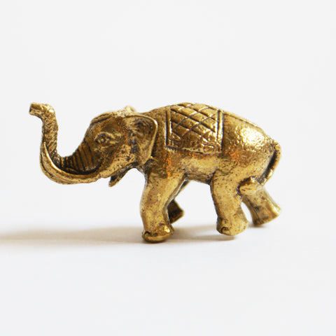 Tiny Golden Elephant Statue - ThirdWorldTrAid