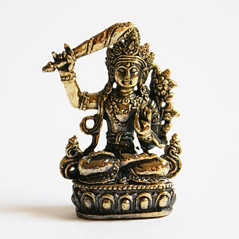 Manjushree Tiny Golden Statue - ThirdWorldTrAid