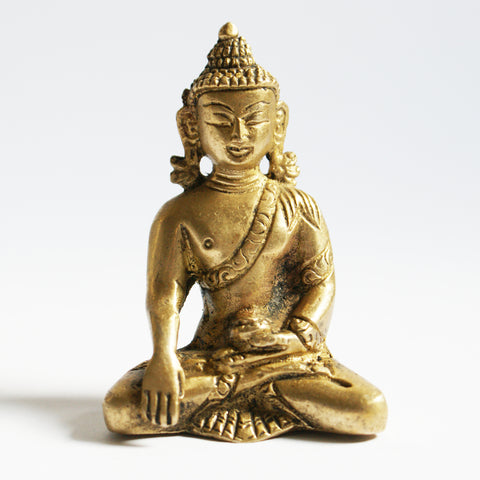 Brass Statue of Sakyamuni Buddha 3'' - ThirdWorldTrAid