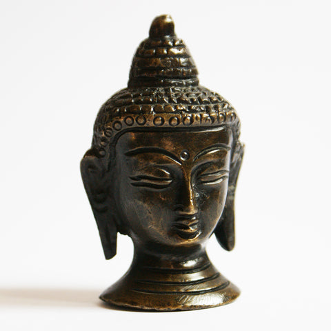 Buddha Head Bronze Metal Statue - ThirdWorldTrAid