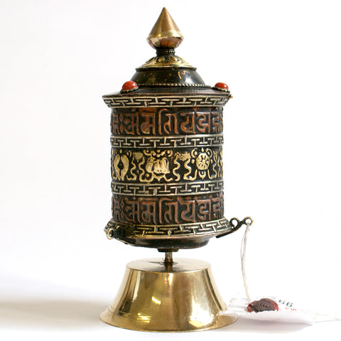 Small Free Standing Prayer Wheel with Om Mantra and Ashamangalas. - ThirdWorldTrAid