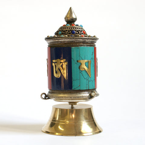 Small Om Mantra Free Standing Prayer Wheel - ThirdWorldTrAid