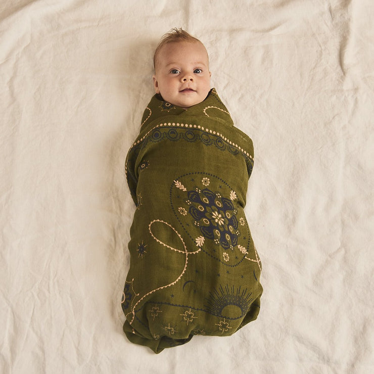 Celestial Olive Bamboo and Organic Cotton Swaddle