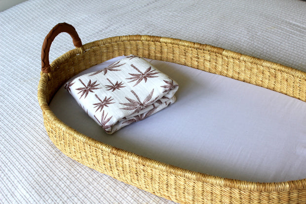 Golden Fields Changing Basket (with Leather Handles)